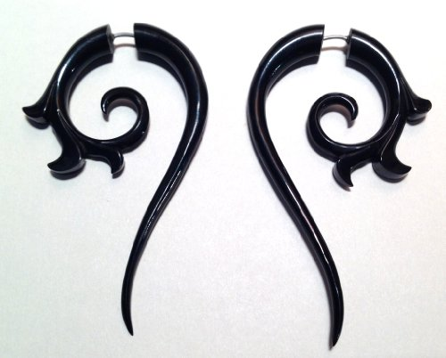 """Fake Gauge Horn """"Dragon Tattoo Style"""" Earrings – By Primal Distro"""