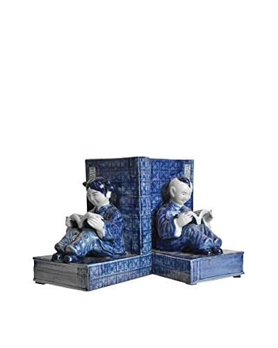 Asian Loft Pair of Handmade Ceramic Bookends, Blue/White