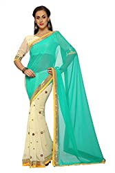 Anvi Off white and turquoise faux georgette designer saree with unstitched blouse (1563)
