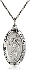 Sterling Silver Saint Christopher Oval Medal and Stainless Steel Chain, 20""