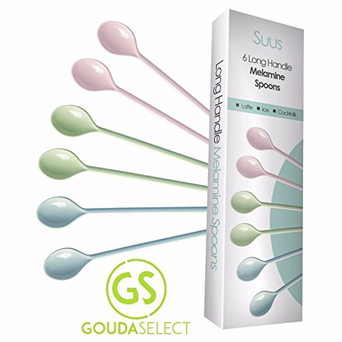 Gouda Select Set of 6 Colorful Long Handle Melamine Latte Spoons - Ice Cream - Cocktails - Macchiato - Stirring - Mixing (Box contains 2 Blue, 2 Green, 2 Pink)