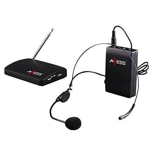Axess Mpwl1503-Bk Professional 150-Feet Range Wireless Headset Microphone With Receiver