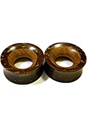 Pair - Coconut Shell & Teak Wood Fused TunnelsOrganic Handmade Inlay Ear Plugs - All Sizes!
