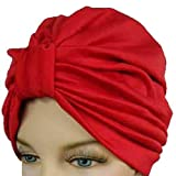Red Classy Polyester Turban Hat Head Cover Sun Cap
