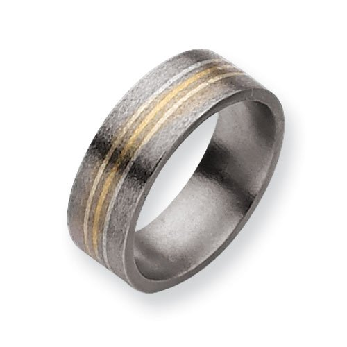 Titanium 14k Gold and Sterling Silver Inlay 8mm Satin Comfort Fit Wedding Band Ring (SIZE 13.5 )
