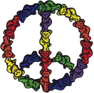 "Grateful Dead Patch - 3"" Teddy Bear Peace Sign"