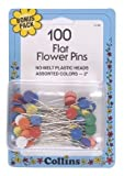 Flat Flower Pins Multi-Colored, by Collins - 100 Ct.