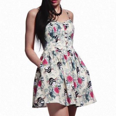 HELL BUNNY Summer MINI DRESS Ivory AKI Japanese