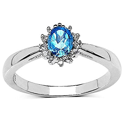 The Blue Topaz Ring Collection: Beautiful Sterling Silver Oval Swiss Blue Topaz & Diamond Cluster Engagement Ring