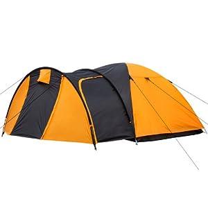 CampFeuer - Kuppelzelt Iglu-Zelt mit Vorbau für 3-4 Personen, schwarz - orange