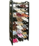 Great Ideas Standing Shoe Rack / Holder / Organiser / Stand Black - Holds Up To 30 Pairs Of Shoes, Trainers, High Heels, Boots - Adjustable Rail Positions