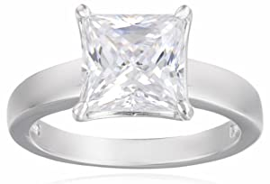Sterling Silver Swarovski Zirconia 3cttw Princess Solitaire Engagement Ring from Elite Group International NY Inc.- ACC