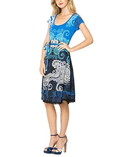 Desigual Damen A-Linie Kleid LIZ REP, Knielang, Gr. 36 (Herstellergröße: M), Blau (AZAFATA 5027) thumbnail