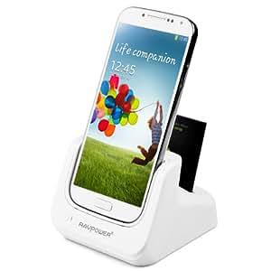 RAVPower®3 en 1 Station d'accueil Dual Chargeur Dock Sync /station de recharge / de Haute Performance avec prise USB mural pour Samsung Galaxy S4 SIV i9500 / i9505 Dual Dock Sync / chargeur de batterie (RP-UC04) - Blanc