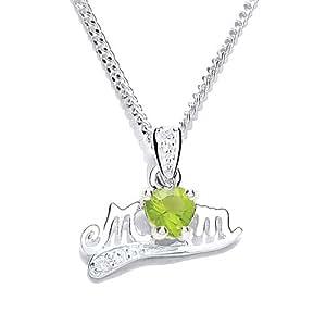 MiChic Jewellery Silver Birthstone Mum Pendant with 46 cm Chain Month Birthstones