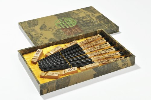 """Abacus Asiatica: """"Dragon Noir"""" - Ensemble de baguettes en bois sculpté dans une boîte cadeau (6 paire de baguettes et porte-baguettes). Dimensions:"""