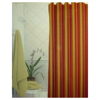 Rodeo Home Monet Brick Fabric Shower Curtain Brick Red Yellow Sage Striped