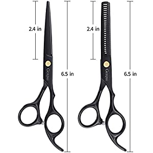 GENPAI Hair Cutting Scissors Set, Professional Barber Hair Salon Household Children's Stainless Steel Shear Bangs Artifact Thinning Hairdressing Shear with Black Leather Caseï¼?Blackï¼?