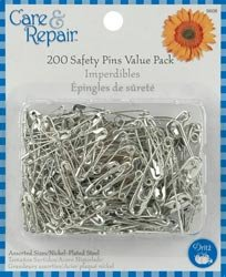 Dritz Safety Pins Assorted Sizes 200/Pkg 9608D; 6 Items/Order