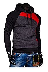 Modo Vivendi | Mens Casual Jackets | Exclusive Winter Jackets with Patchwork (X-Large, Grey+Red)