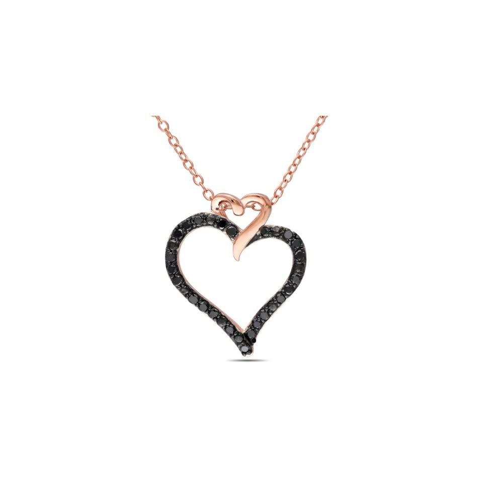 Rose Gold Flashed Silver Black Diamond Heart Shaped Pendant Necklace , (.25 cttw), 18