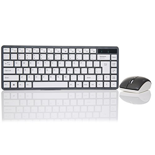 Beyondtek A-3000 Chiclet Style Key Caps Wireless Keyboard Mouse Combo With Smooth Feeling For Surface/Win 8 Black
