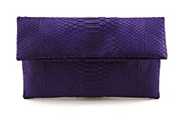 Genuine Purple Grape Python Leather Classic Foldover Clutch Bag