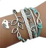 Main Infinity Vintage Silver 8 Owl Feuille Oiseau bracelet bracelet en cuir avec boîte-cadeau par Boolavard ® TM