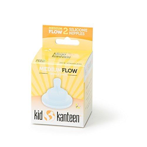 Klean Kid Kanteen Medium Flow Silicone Nipple-Pack of 2, Clear