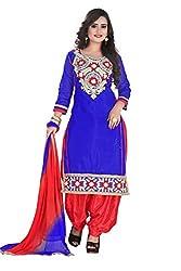 RajLaxmi Women's Fashion Blue & Red Chanderi Silk Dress Material