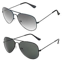 Rhodopsin UV Protected Blue Aviator and Black Aviator Sunglasses (Combo_Blue_Black_Aviator)