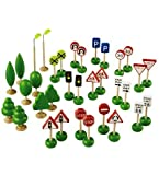 Wheel Town Traffic Signs, Trees, and Lights Combo, 34-Piece