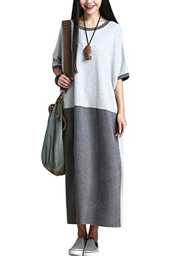 Mordenmiss Womens New Color Stitching Cotton Batwing Dress Dark Gray One Size