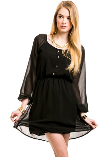 Laced Peasant Dress In Black