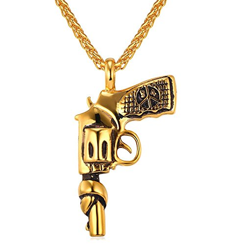 American Style Hip Hop Chain Men Women Pendant Necklace Gold Plated Stainless Steel Vintage Roscoe Gun Necklace (Gold Gun Necklace compare prices)