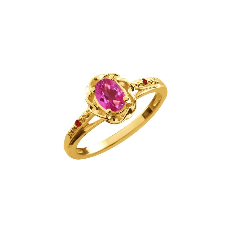 0.57 Ct Oval Pink Mystic Topaz Red Garnet Yellow Gold Plated Silver Ring