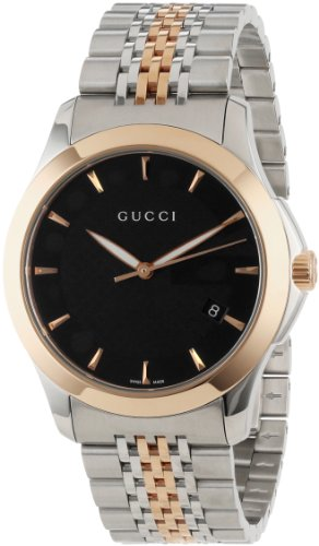 Gucci Men's YA126410 Gucci timeless Steel and Pink PVD Black Dial Watch
