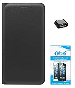 TBZ PU Leather Flip Cover Case for Xiaomi Redmi 3S with OTG Adaptor and Tempered Screen Guard -Black