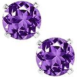 HOT 925 Sterling Silver 6.00MM Purple &White Zircon Earrings Stud Earring