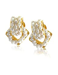 Surat Diamonds Geometical Shaped Freshwater Pearl & Gold Plated Earrings For Women