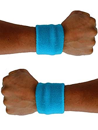 Extreme 80's Neon Blue Sweatband Unisex-Adult