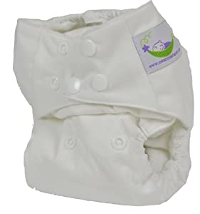 Sweet Pea One Size Pocket Diaper with Microfiber Inserts (White)