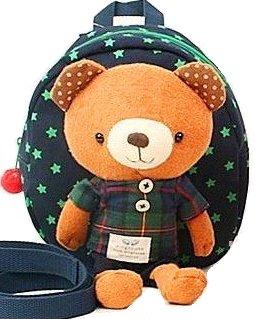 ハーネス 迷子ひも リード 付き 熊 クマ くま ぬいぐるみ 子供用 リュック / 紺 チェック