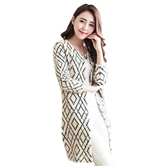 Women's Hot Rhombus Pattern Slim Fit Long Cardigan Knitwear Sweater (Creamy White)