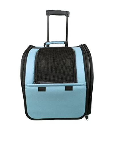 Pet Life Travel Pet Carrier With Rubberized Wheels, Light Blue