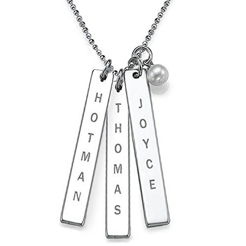 Sterling Silver Engraved Name Tag Necklace With Pearl - Custom Made With Any Name! Free Engraving! (18 Inches, 3)