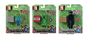 Set of 3 Overworld Minecraft Mini Fully Articulated Action Figure Pack - Zombie, Creeper & Enderman