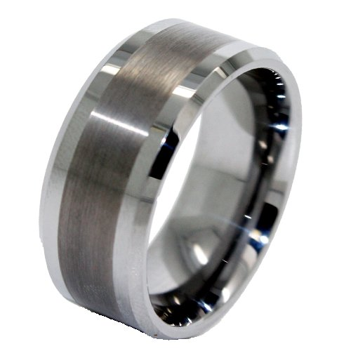 Blue Chip Unlimited - Unique 10mm Great Satin Center Tungsten Ring Wedding Band Designer Fashion Engagement Ring Sizes J 1/2 - Z