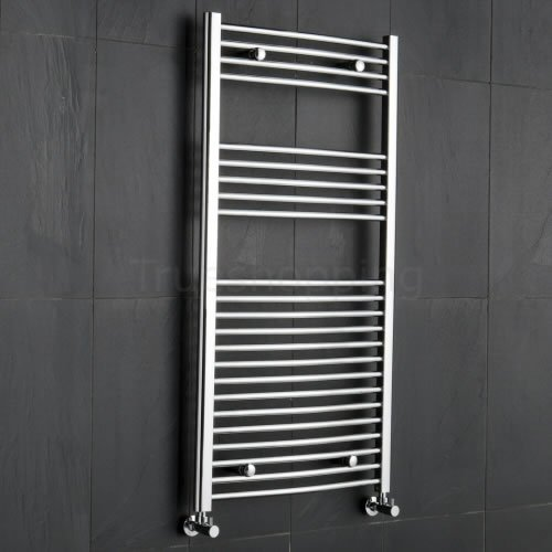 Kudox Premium Chrome Curved Heated Bathroom Towel Radiator Rail 1200mm x 600mm