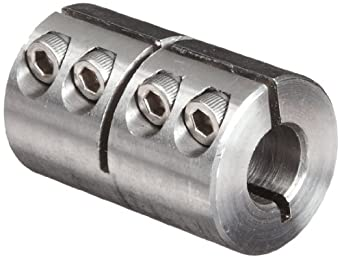 "Climax Metal ISCC-037-037-S Clamp Coupling, Stainless Steel Grade 303, 3/8"" Bore , 7/8"" OD, With 6-32 x 3/8 Set Screw"